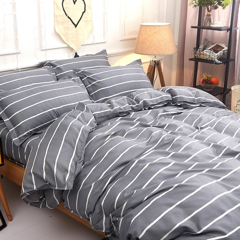 Solstice Home Textile Twin Queen King Bedding Sets For Girl Boy Kid Teen Gray Stripe Duvet Cover Pillowcase Bed Sheet Linen Suit