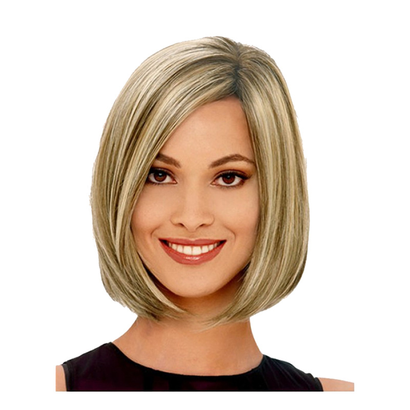 New stylish synthetic wigs bobo short straight hair ruili golden hair type 100 heat resistant fiber type of extension full lace wigs heat friendly yes application easy do it yourself application solutioingenieria Image collections