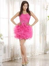 Echt Short Mini Pink Prom Kleider Mit Blumen Nette Cocktailkleider Mädchen semi-formale Party Kleider cd6648