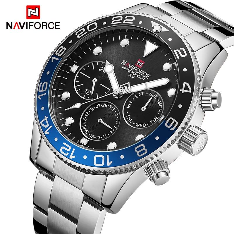 Herren Uhren Top Luxus Marke Naviforce Mode Sport Wasserdichte 24 Stunde Datum Uhr Männer Voller Stahl Quarz Business Armbanduhr Den Speichel Auffrischen Und Bereichern Uhren Herrenuhren
