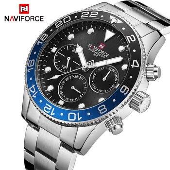 Mens שעונים למעלה מותג יוקרה NAVIFORCE אופנה ספורט עמיד למים 24 שעה תאריך שעון גברים מלא פלדה קוורץ עסקי שעוני יד