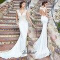 New Sexy Mermaid Wedding Dresses 2017 V-neck Cap Sleeve Court Train Lace Satin Bridal Gowns Vestido de noiva sereia