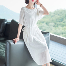Summer Dress Female 2019 New Fashion Round Neck Short Sleeved Solid Color Slim A-Line Tencel Casual Dress Midi S-XL long sleeved dress women 2019 spring summer new simple stripes turn down collar slim a line casual elegant dress midi s xl