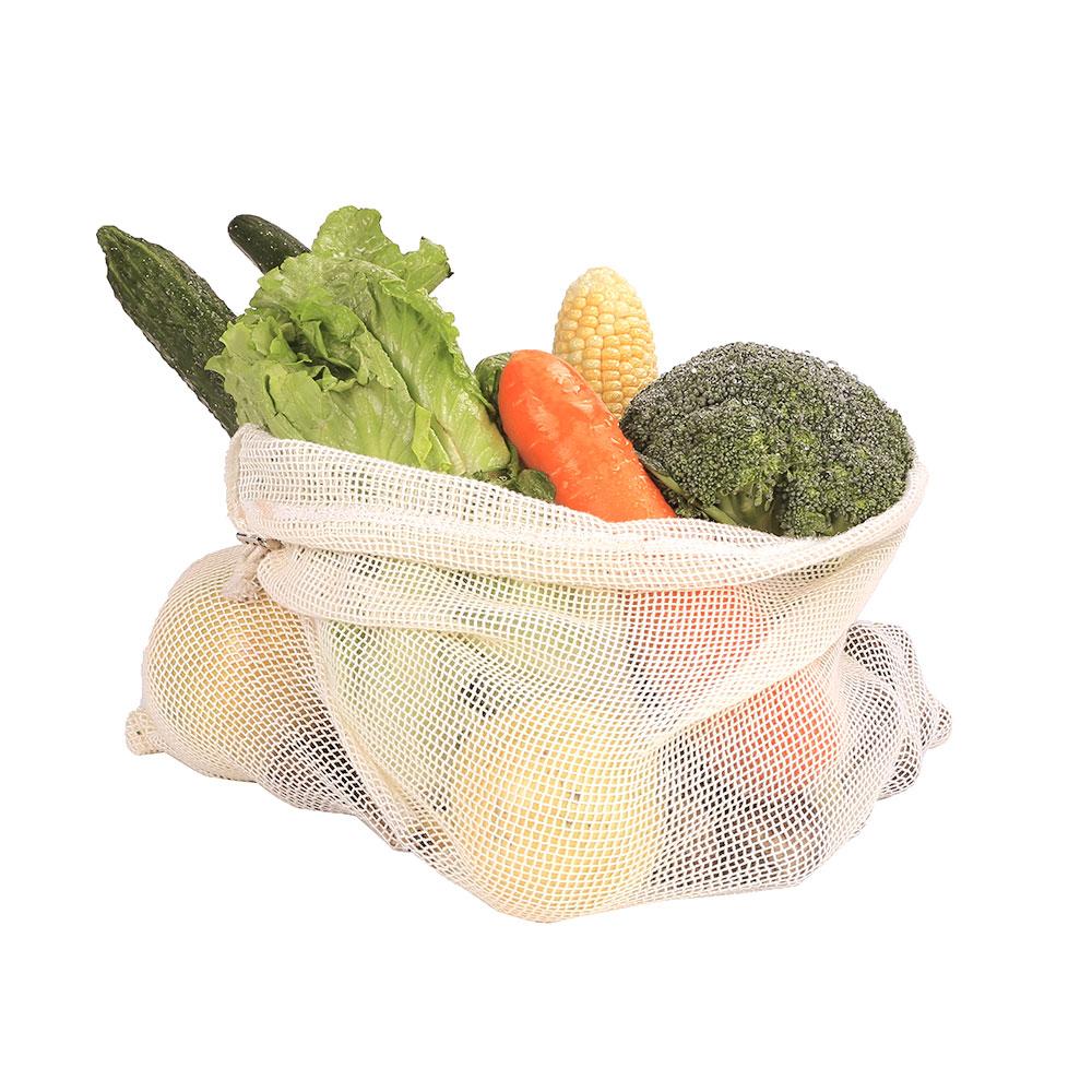 Bolsas de Malla 3 tamaños y de ALGODÓN ecológica sostenible re-utilizable reutilizable de varios tamaños y color beige 13