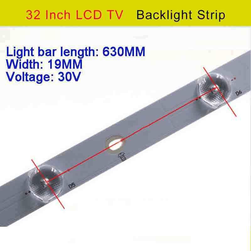 10 أضواء 32 بوصة lcd tv بقيادة ضوء بار lcd تعديل الصمام ضوء بار led الخلفية 630 ملليمتر * 19 ملليمتر 30 فولت