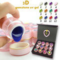 12 mix colors Nail art  3D gem gel 8Garms half clear gemstone uv gel diamond uv gel kit