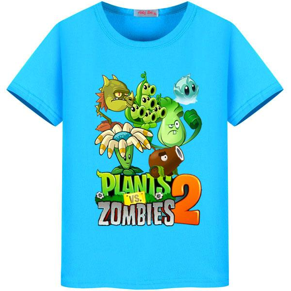 Summer Plants Vs Zombies t shirt Girls Casual Cotton O-neck Tee Tops Kids t shirt Clothing Boys Cotton Cartoon T-Shirt 2-11Y beige see through lace details star round neck t shirt