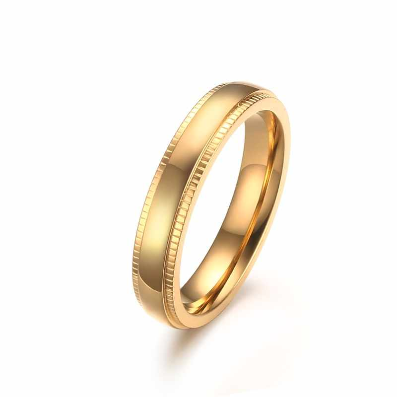 Hot new Top quality Personalized ring 4MM stainless steel embossed ring atmosphere Gold-color finger ring simple unisex bijoux