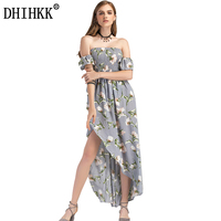 DHIHKK 2018 Newest Women Spring Summer Maxi Dresses Vocation Beach Off Shoulder Floral Printed Hollow Out