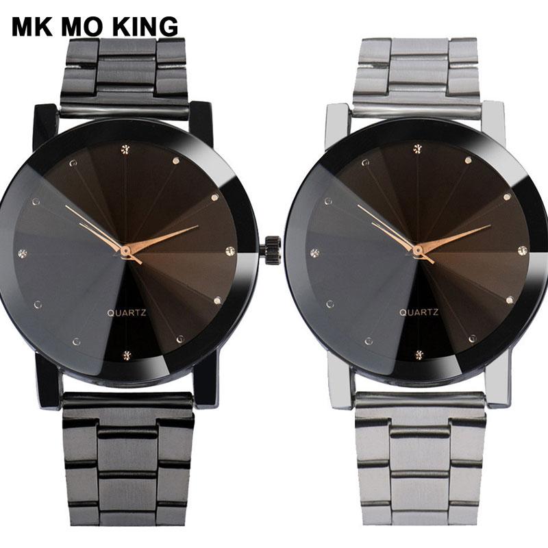 Luxury Brand Couple Watch Stainless Steel Analog Rhinestone Men's Women's Quartz Movement Clock Casual Bracelet Sevgili Saati