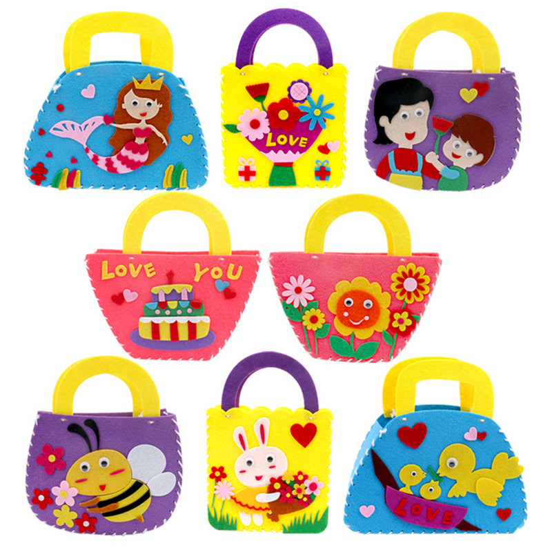 1 Set DIY Crafts Interactive Educational Toys Lovely Cartoon Animals Child Handmade Handbag Multicolor Non-woven Puzzle For Kids