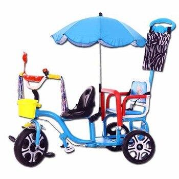 f32f4a214 2019 nuevo doble asiento niños triciclo bicicleta 1-3-6 años de edad de  bebé cochecito de juguete Luz doble coche paraguas