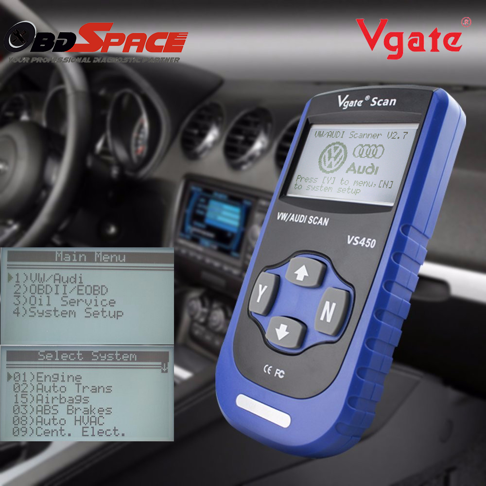 Цена за Новинка 2017 года ABS, подушка безопасности сканер для VW AUDI Vgate VS450 OBD2 код ошибки чтения инструмент диагностики для Гольф для Audi A4 A3 автомобиль сканер