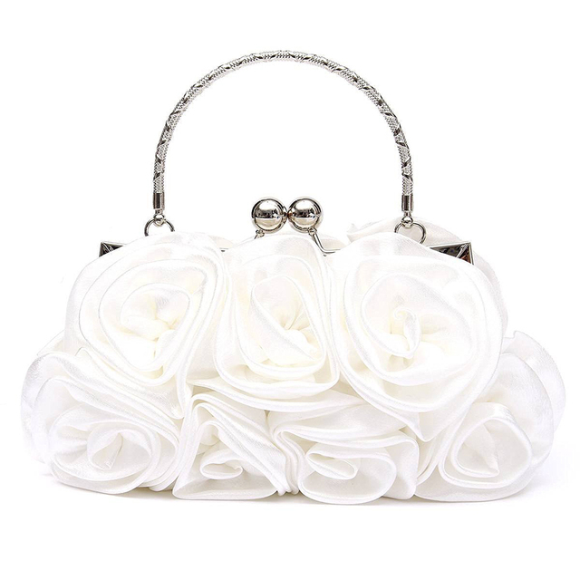 New 2018 satin Hot Fashion Floral Ladies day Clutch Bag Women Evening Party Prom Bridal Diamante Baguette White 5 colors summer 5