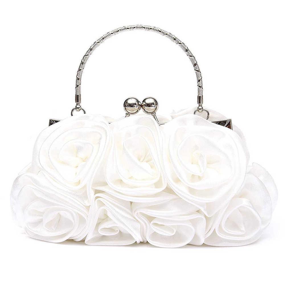 68498ca35220 ... Новинка 2018, атласная Модная Цветочная женская сумка-клатч на день,  женская вечерняя сумочка