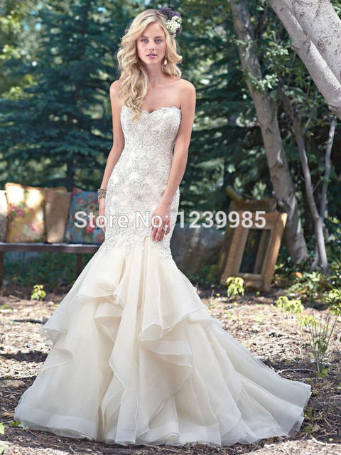 High Quality Organza Removable Shoulder Strap Mermaid Wedding Dress 2017 New Lace Appliques Backless Sweep Train Bridal Gown