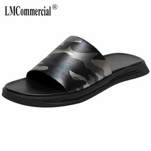 2018 summer Genuine Leather sandals camouflage Sneakers Men Slippers Flip Flops casual Shoes beach outdoor anti-skid cowhide mens anti skid sandals fender summer men genuine leather slippers cowhide sneakers men flip flops casual shoes beach outdoor
