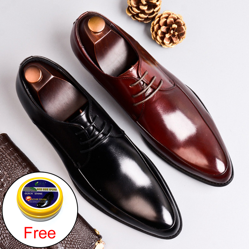 Classic Man Formal Dress Derby Office Shoes Genuine Leather Handmade Wedding Party Flats Pointed Toe Men