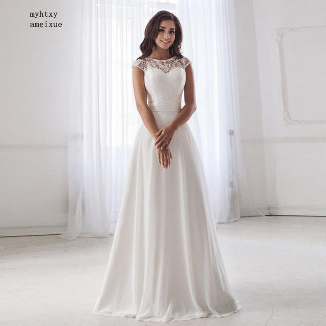 저렴한 특종 목 레이스 웨딩 드레스 2020 민소매 주름 벨트 쉬폰 비치 웨딩 드레스 로브 드 Soiree 오픈 다시 Casamento