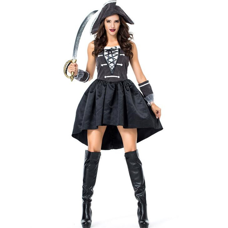 Deluxe Womens Pirate Black Costume Halloween Adult Cosplay Clothing