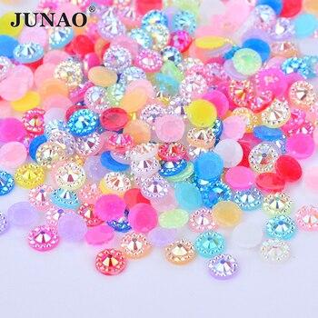 9452a45932bd JUNAO 4 5 6mm Color de la mezcla de flores de diamantes de imitación cara  de piedra de cristal plana resina gemas Scrapbook cuentas para artesanía de  joyas