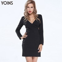 YOINS 2016 New Woman Sexy V Neck Bodycon Longsleeve Mini Dress Fashion Cut Out Back Dresses