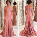 Venda quente Mãe da Noiva Vestidos de Renda 2017 Para casamentos Fora Do Ombro Mangas Curtas Formal Do Noivo Mãe Vestidos Vestidos de Noite vestidos