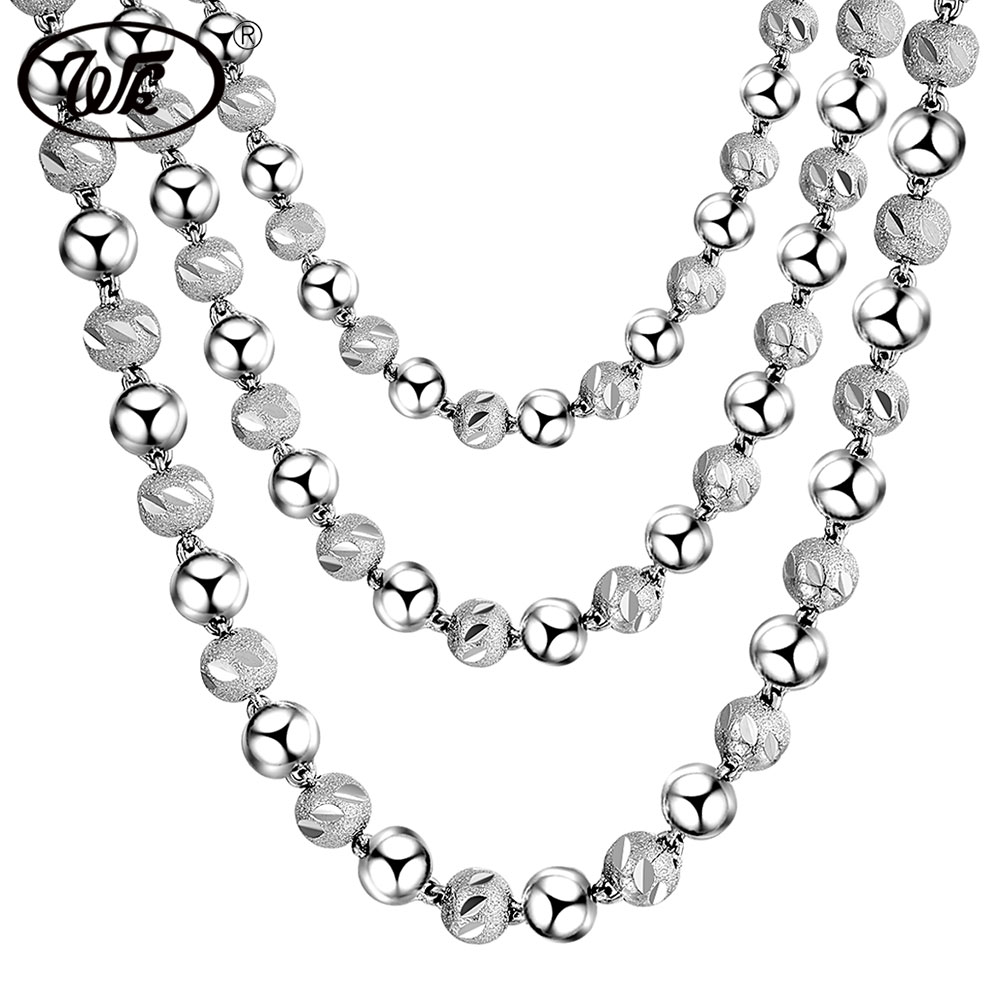 WK NEW Engraved Beads Chain Necklace 925 Sterling Silver Beaded Ball Boys Men Male Chains Collar Solid S925 4MM 5MM 6MM W1 NM017 5pcs 2 4mm silver plated ball beads chain necklace bead connector 65cm 25 5 inch z1 06