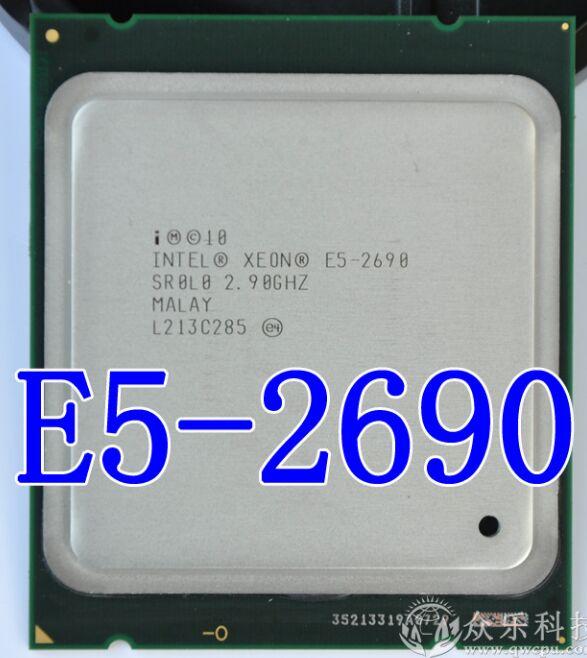 Processeur Intel Xeon d'origine E5-2690 E5 2690 huit cœurs 2.9G SROL0 C2 LGA2011 CPU 100% fonctionnant correctement processeur d'ordinateur de bureau