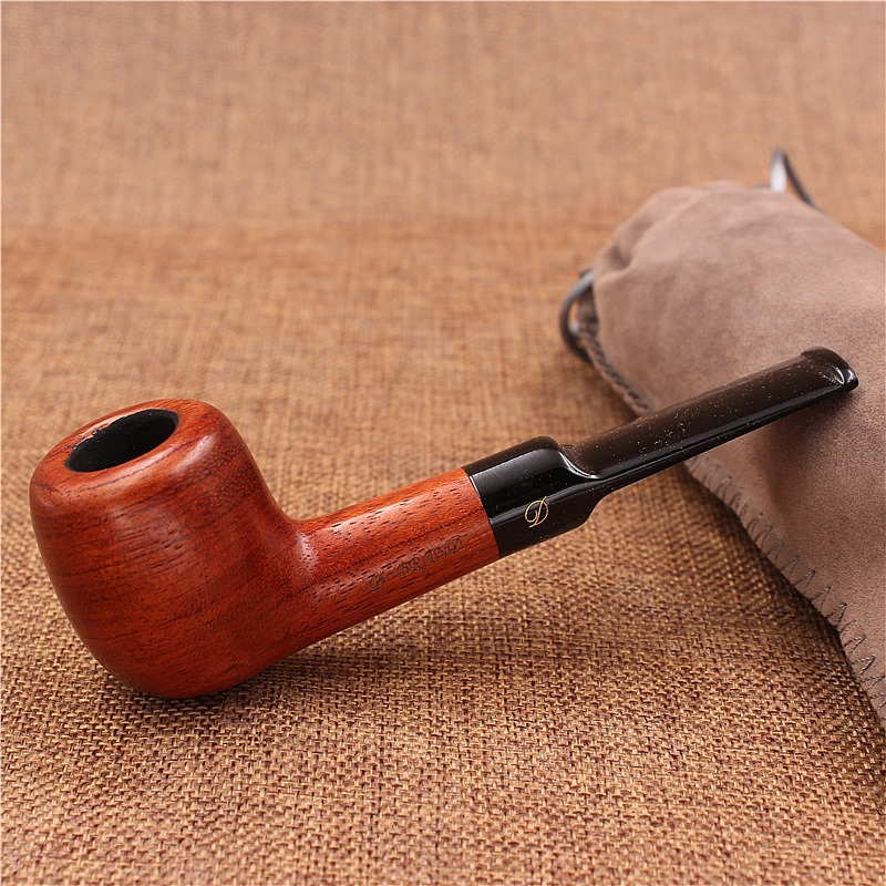 Redwood Wood Smoking Weed Pipe Tool Wooden Smoke Tobacco Cigarette Pipes Accessories Smooth Surface Style Pipe Gift 13.9×4.6cm