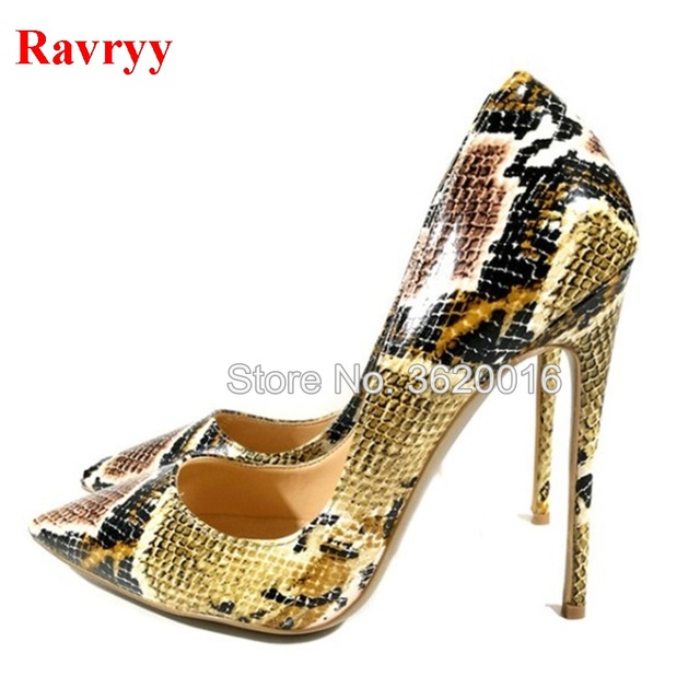 7c2f57987a1d Women Sexy Snakeskin Pointed Toe Stiletto Heel Pumps Shallow Cut Python  Printed Wedding Shoes Color Block High Heels 12cm