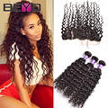 Lace Frontal Closure With Bundles Brazilian Virgin Hair Water Wave With Frontal Closure 3 Bundles Human Hair Weave With Closure