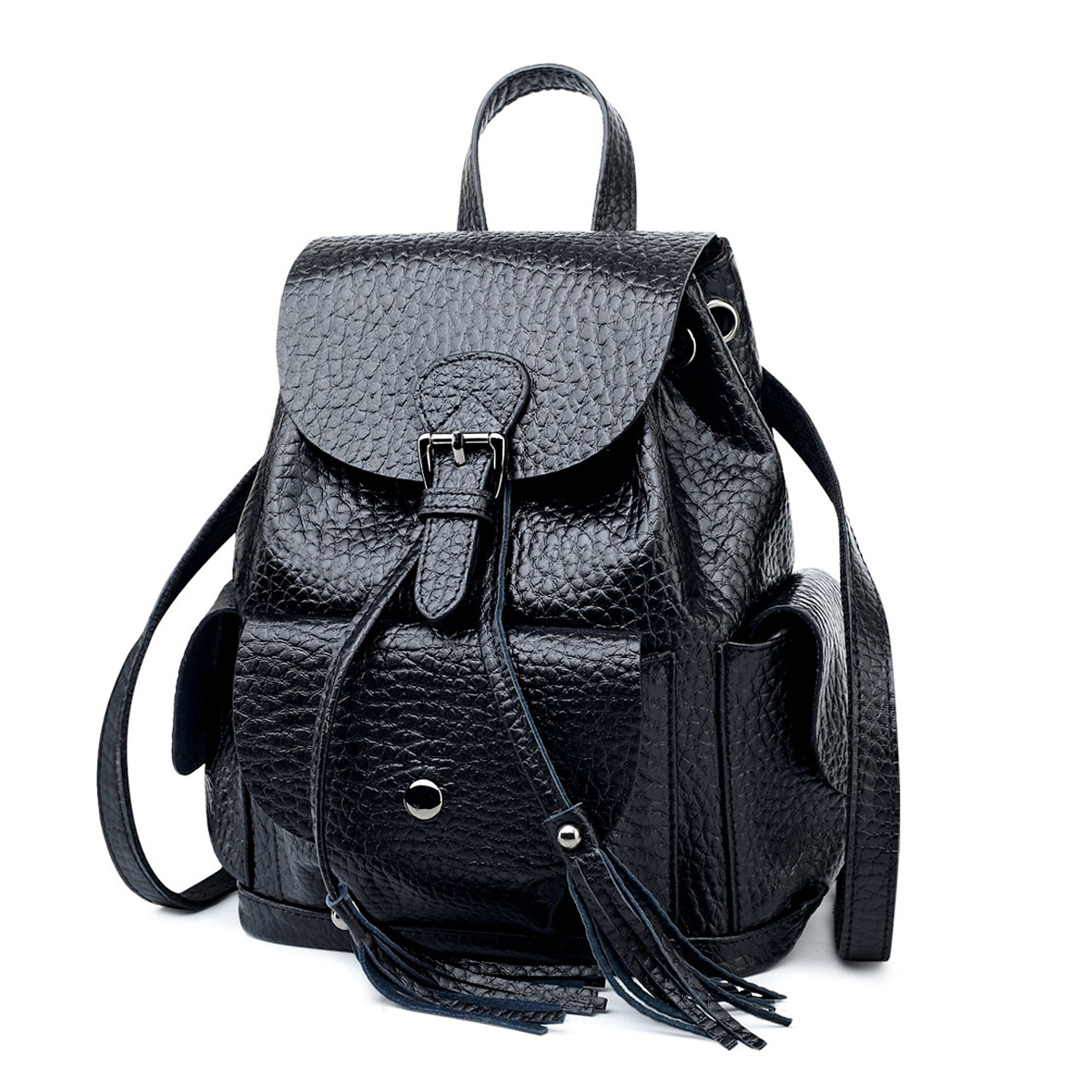 все цены на Caker Style Anti-theft tassel Women Backpack Genuine Leather Elephant Pattern Girl Preppy High School Bag Drawstring backpack