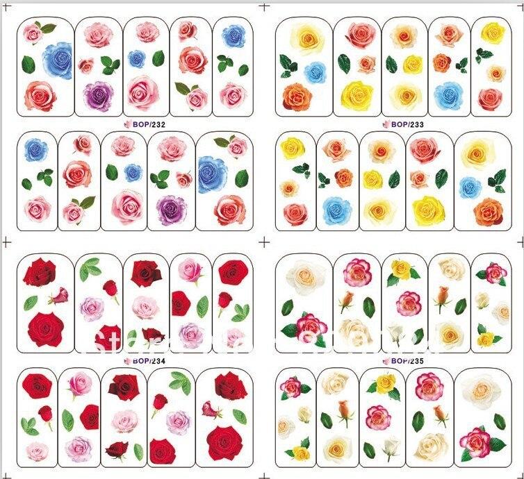 free Shipping Nail Stickers All Nail art Water transfer printing ...