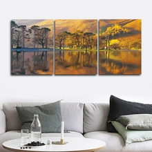 Laeacco 3 Panel Wall Artwork Autumn Yellow Trees Mountain Posters and Prints Canvas Paintings Calligraphy Home Living Room Decor
