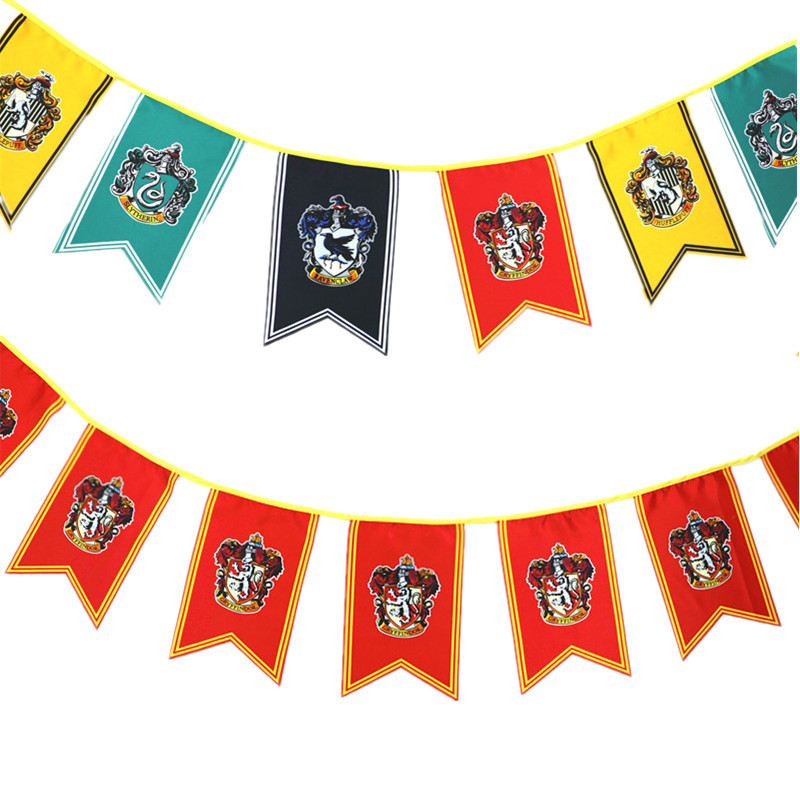 12pcs/pack College Party Flag Banners Gryffindor Slytherin Hufflerpuff Ravenclaw Ktv Bar Ceremony Decor Harri Potter Party Toy Top Watermelons Action & Toy Figures
