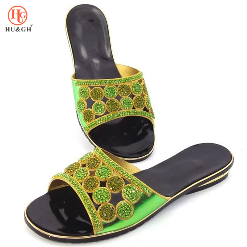 New Arrival Green Color African Lady Women Wedding Shoes Woman Ladies Women Pumps Party Wedding Shoes Decorated with Rhinestone