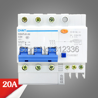 Free Shipping Two years Warranty  DZ47LE-32 C20 3P 20A 3 pole ELCB RCD earth leakage circuit breaker  residual current