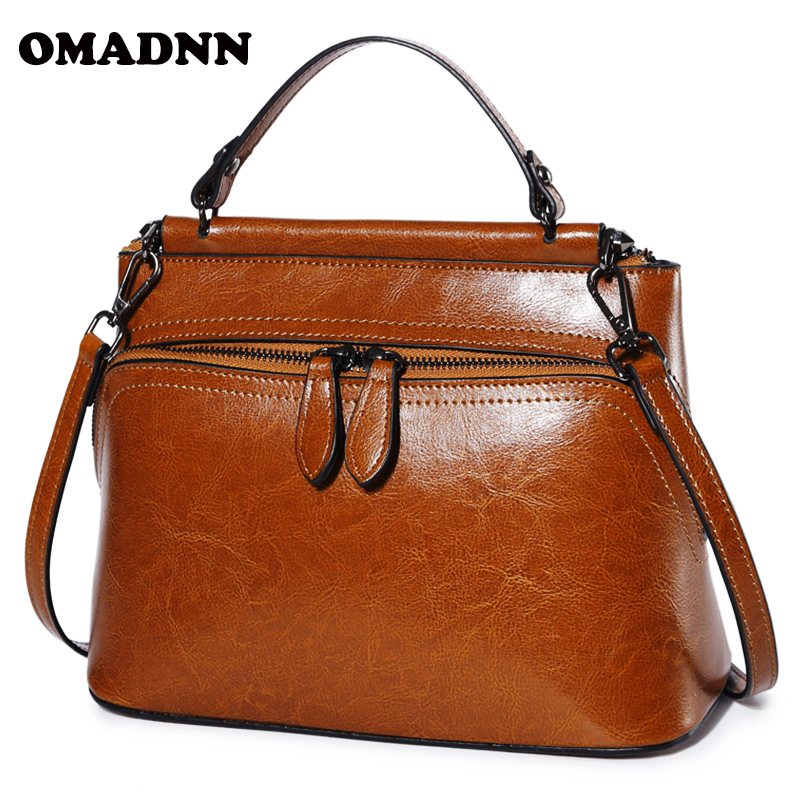 OMADNN Women's Real Soft Leather Handbag New Korean style Bag Fashion Portable Shoulder Satchel Crossbody Ladies large Shells yuanyu 2018 new hot free shipping real python skin snake skin color women handbag elegant color serpentine fashion leather bag