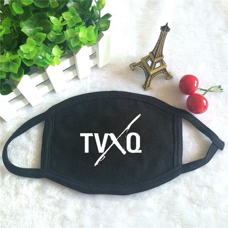 Kpop TVXQ TOHOSHINKI JYJ Logo J-POP Print K-pop Fashion Face Masks Unisex Cotton Black Mouth Mask