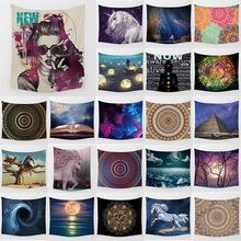 Unicorn psychedelic tapestry mandala horse wall hanging home decoration large rectangle bedroom