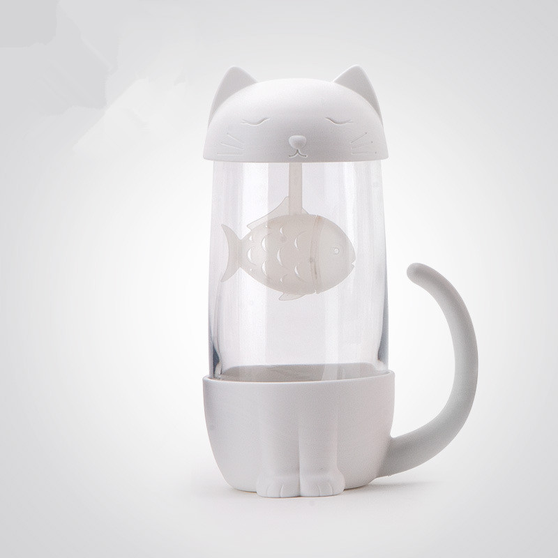 HTB17yKNadjvK1RjSspiq6AEqXXae Cute Cat Glass Cup Tea Mug With Fish Infuser Strainer Filter Home Offices