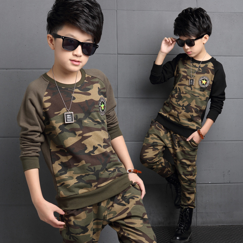 ФОТО Tommu Carino Autumn New Camouflage Kids Clothing Set for Boys&Girls Cotton Camo Boys Sports Set Active Girls Clothing Sets