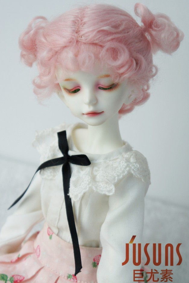 JD269 1/4 1/3 MSD SD Мода BJD парик для куклы мохеровый Размер 7-8 дюймов 8-9 дюймов прекрасная Двойная чаша BJD волосы - Цвет: size 7-8inch pink