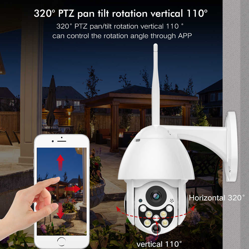 SDETER 1080P PTZ WIFI กล้องโดมความเร็ว Wireless Security กล้อง IP ภายนอก PAN TILT 4X ซูม IR กล้องวงจรปิด p2P CAM (2 Pack)