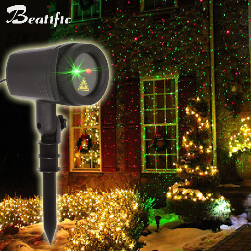 Outdoor Motion Fairy Lights Laser Projector New Year Christmas Holiday Lighting Decoration For Home Double Colors With Timer