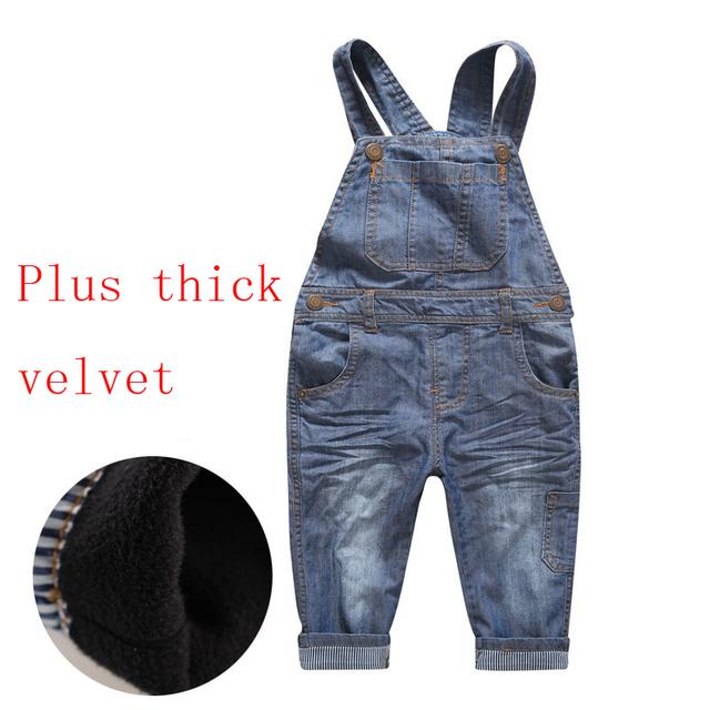 2017 Modelos de Inverno Simples e Generoso Moda Menino Crianças Mais Grossa de Veludo calças de Brim Macacão Jeans TSK0022