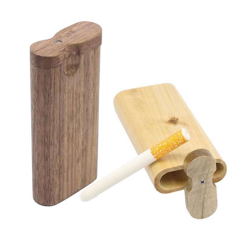 Portable Wooden Cigarette Box, Fashion Men's Cigarette Case with Ceramic Cigarette Tubes, As Seen on TV, Cigarette Accessories