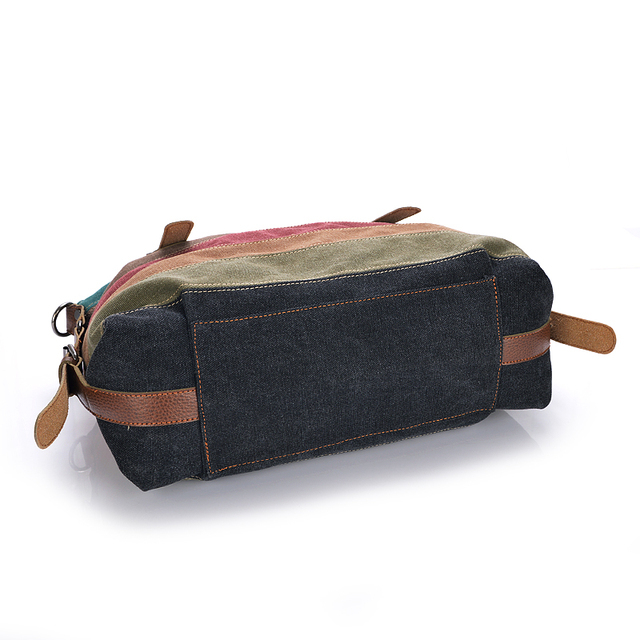 Fashion Canvas Bag Brand Women Handbag Patchwork Casual Women Shoulder Bags Female Messenger Bag Ladies 2018 Rainbow Purse Pouch