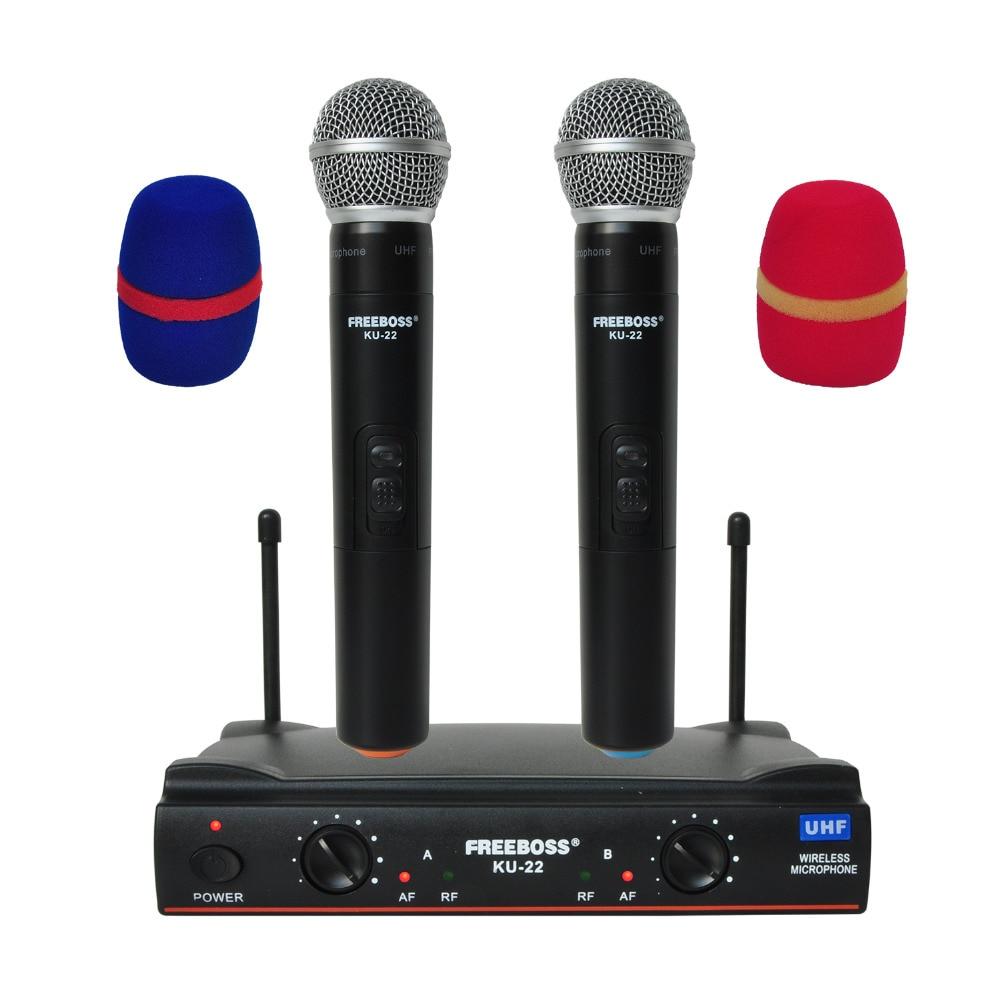 KU 22 UHF Long Range Dual Channel 2 Handheld Mic Transmitter Professional Karaoke UHF Wireless Microphone